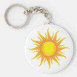 Flaming sun basic round button keychain