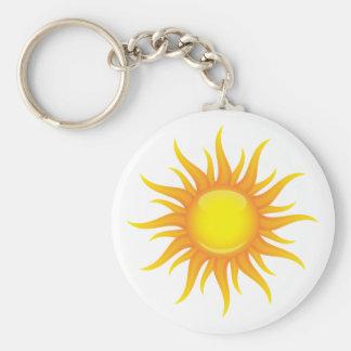 Flaming sun keychain