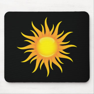 Flaming sun on a black background mousepad