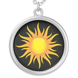 Flaming sun on a black background silver necklace