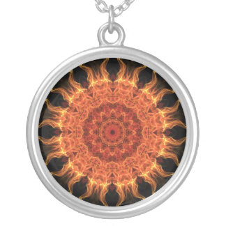 Flaming Sun Silver Plated Necklace