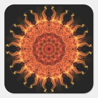 Flaming Sun Square Sticker