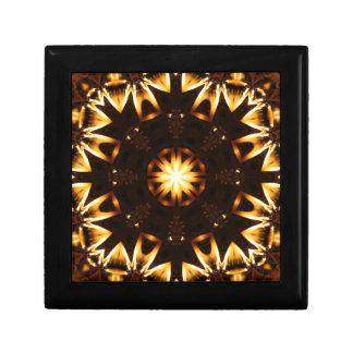 Flaming Sunflower Geometric Kaleidoscope 2 Trinket Box