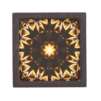 Flaming Sunflower Geometric Kaleidoscope 2 Premium Gift Boxes