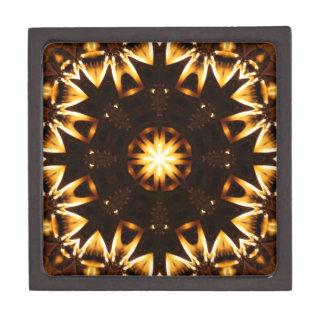 Flaming Sunflower Geometric Kaleidoscope 2 Premium Gift Box