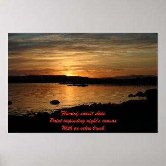 Flaming Sunsets - Haiku Poster