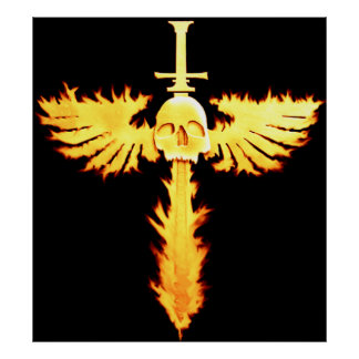 Flaming Sword and Skull Poster