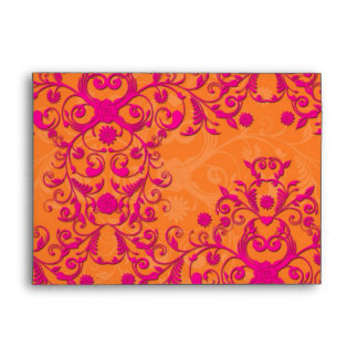 Flaming Tangerine Tango Orange and Pink Damask Envelope
