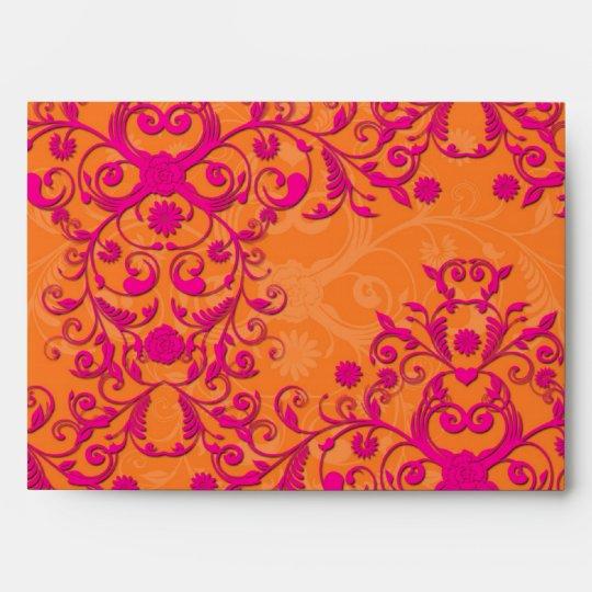 Flaming Tangerine Tango Orange and Pink Damask Envelope