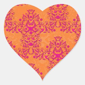 Flaming Tangerine Tango Orange and Pink Damask Heart Sticker