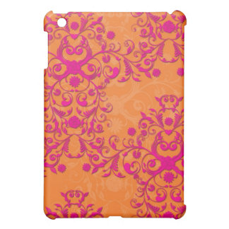 Flaming Tangerine Tango Orange and Pink Damask iPad Mini Case