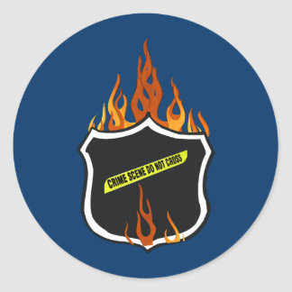 Flaming Tattoo Police Badge Classic Round Sticker