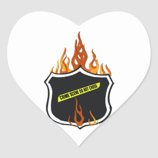Flaming Tattoo Police Badge Heart Sticker