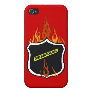 Flaming Tattoo Police Badge iPhone 4/4S Covers
