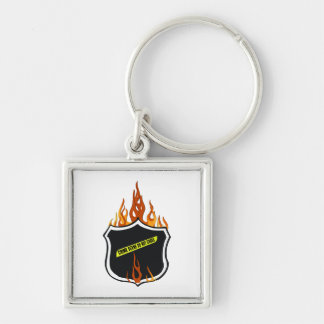 Flaming Tattoo Police Badge Keychain