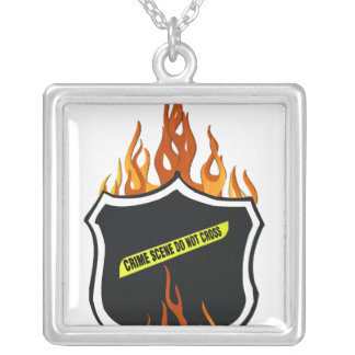 Flaming Tattoo Police Badge Necklace