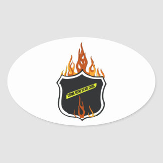 Flaming Tattoo Police Badge Oval Sticker