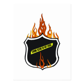 Flaming Tattoo Police Badge Postcard