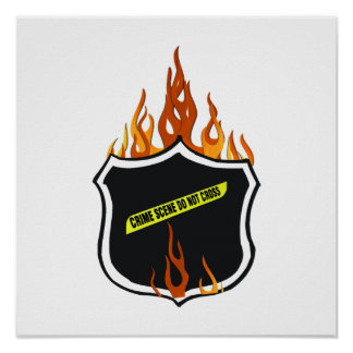 Flaming Tattoo Police Badge Posters