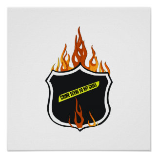 Flaming Tattoo Police Badge Print