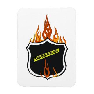 Flaming Tattoo Police Badge Rectangular Photo Magnet