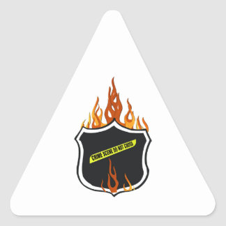 Flaming Tattoo Police Badge Triangle Sticker