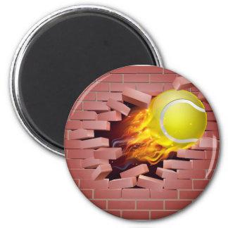Flaming Tennis Ball Breaking Through Brick Wall 2 Inch Round Magnet