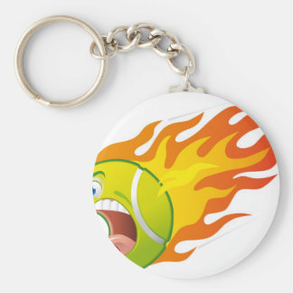 Flaming Tennis Ball Keychain