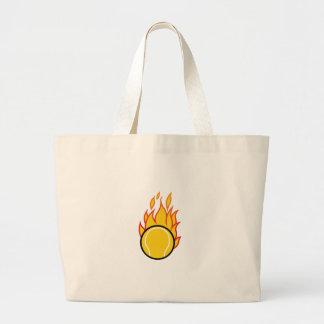 Flaming Tennis Ball Large Tote Bag