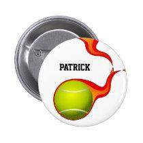 flaming Tennis ball Pinback Button