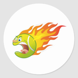 Flaming Tennis Ball Stickers