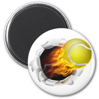 Flaming Tennis Ball Tearing a Hole inBackground 2 Inch Round Magnet