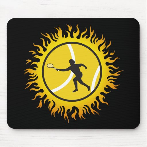 Flaming Tennis Mouse Pad