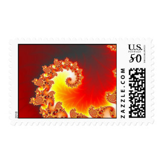 Flaming Tentacle - Fractal Art Postage