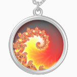 Flaming Tentacle - Fractal Art Silver Plated Necklace