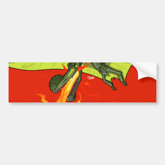 Flaming-throwing Pterodactyl Dinosaur - Sean Moore Bumper Sticker
