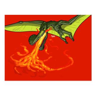 Flaming-throwing Pterodactyl Dinosaur - Sean Moore Postcard