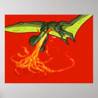 Flaming-throwing Pterodactyl Dinosaur - Sean Moore Print