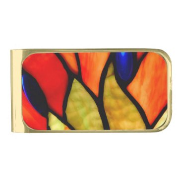 McTiffany Tiffany Aqua Flaming Tiffany Flow Gold Finish Money Clip