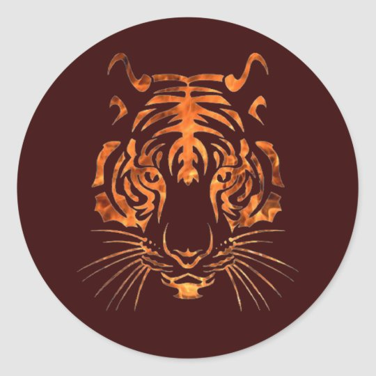 Flaming tiger classic round sticker
