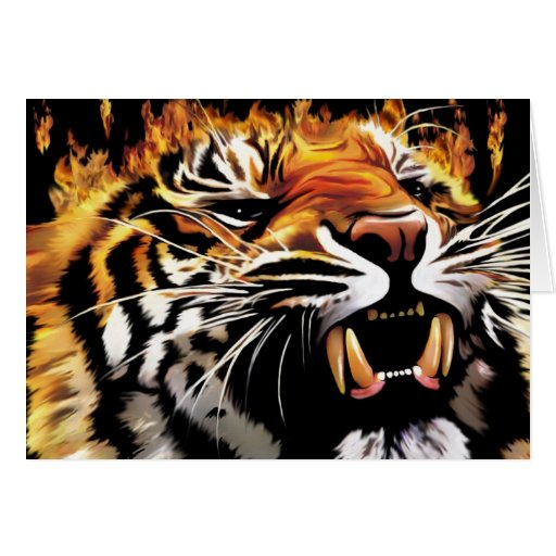 Flaming TIger Greeting Card