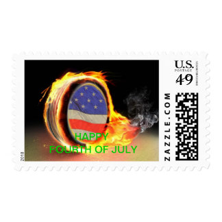 Flaming Tire Fourth of July POSTAGE STAMP
