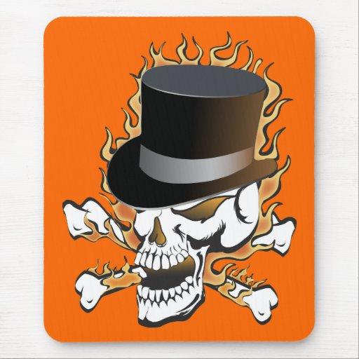 Flaming Top Hat Skull Mousepad