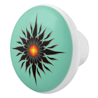 Flaming Tribal Sun Ceramic Knob