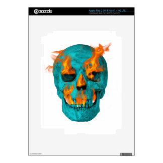 Flaming Turquoise Skull iPad 3 Decal