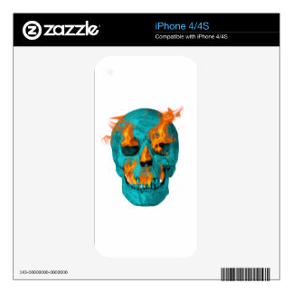 Flaming Turquoise Skull Skins For iPhone 4S