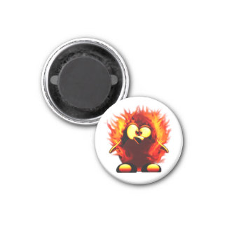 Flaming Tux (Penguin Torch) 1 Inch Round Magnet