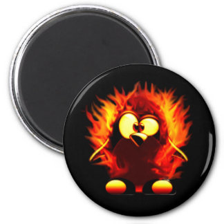 Flaming Tux (Penguin Torch) 2 Inch Round Magnet