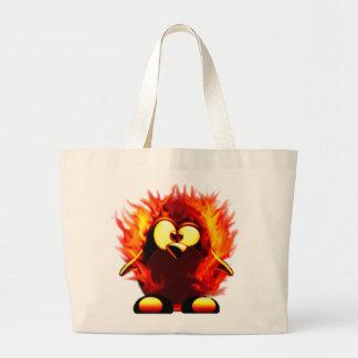 Flaming Tux (Penguin Torch) Large Tote Bag