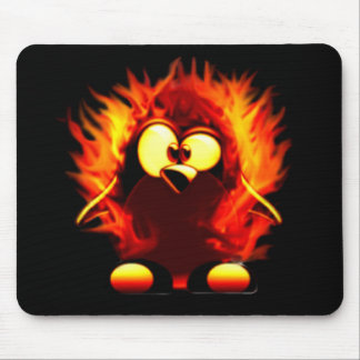 Flaming Tux (Penguin Torch) Mouse Pad